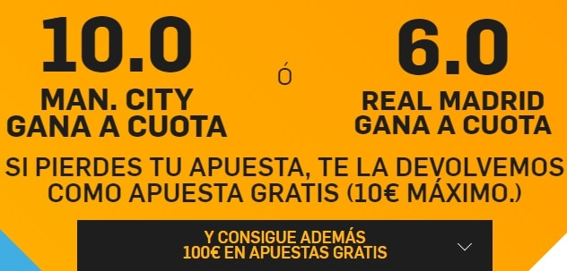Supercuota betfair manchester city -  real madrid