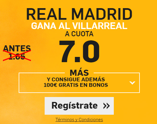 Supercuota Betfair Real Madrid gana Villarreal