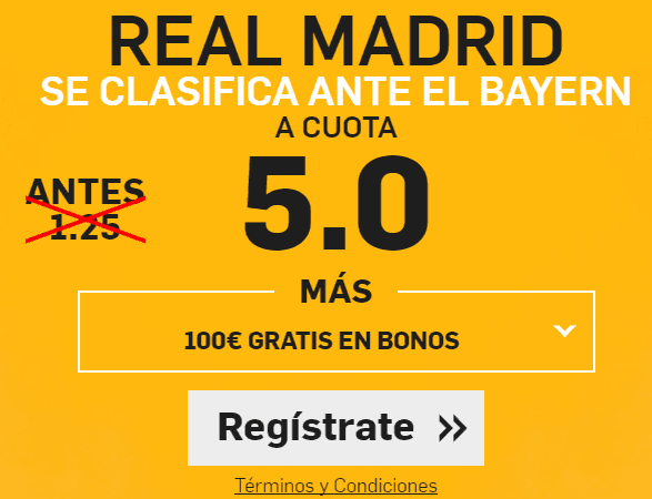 Supercuota Betfair Real Madrid gana