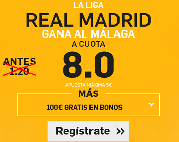 Supercuota Betfair Real Madrid gana Malaga cuota 8