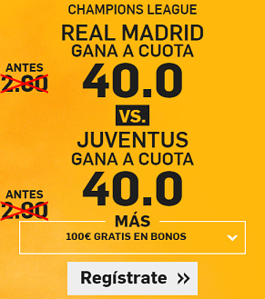 Supercuota Betfair Champions Real Madrid - Juventus cuota 40