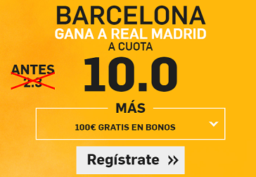 Supercuota Betfair Barcelona gana a Real Madrid