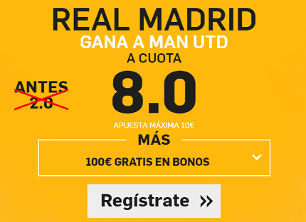 Supercuota Betfair Real Madrid Gana a Man Utd