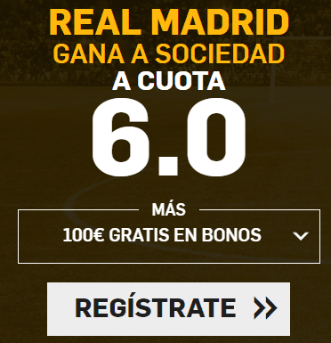 Supercuota Betfair Real Madrid gana a Sociedad cuota 6.0