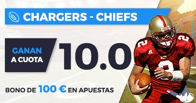 Supercuota Paston NFL Chargers - Chiefs cuota 10.0
