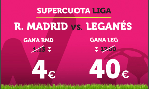 Supercuota Wanabet la Liga: R. Madrid cuota 4 vs Leganés a cuota 40