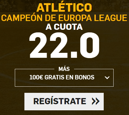 Supercuota Betfair Final Europa League Atlético gana a cuota 22.0