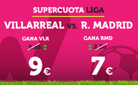 Supercuota Wanabet la Liga: Villareal cuota 9 vs R. Madrid a cuota 7