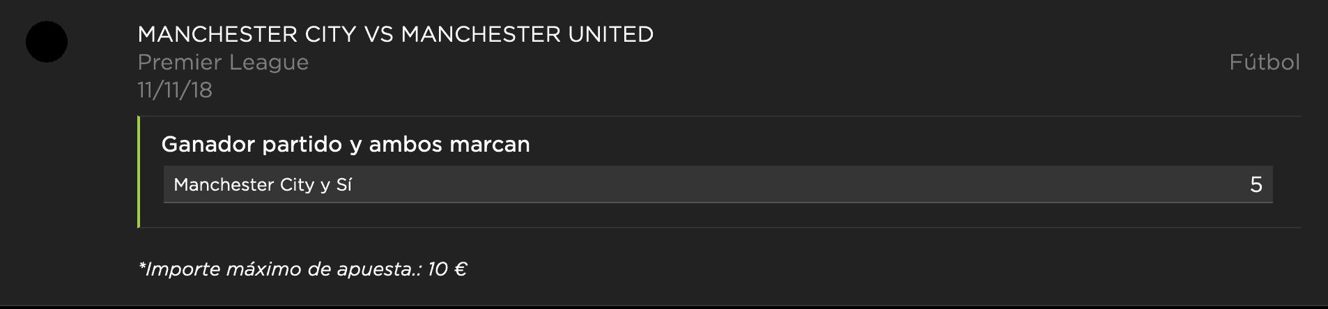 Supercuotas vivelasuerte Premier League Manchester City - Manchester United