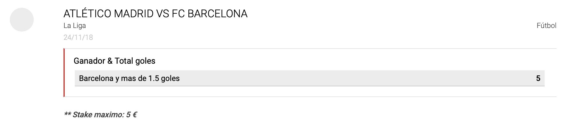 Supercuotas circus Atlético de Madrid - FC Barcelona