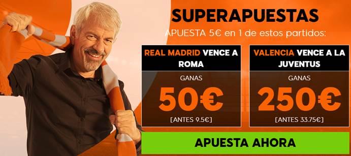 Supercuotas 888sport Champions League Roma - Real Madrid y Juventus - Valencia CF