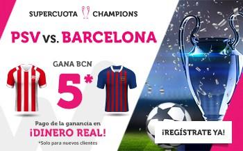 Supercuota Wanabet Champions PSV - FC Barcelona. Gana FC Barcelona a cuota 5.