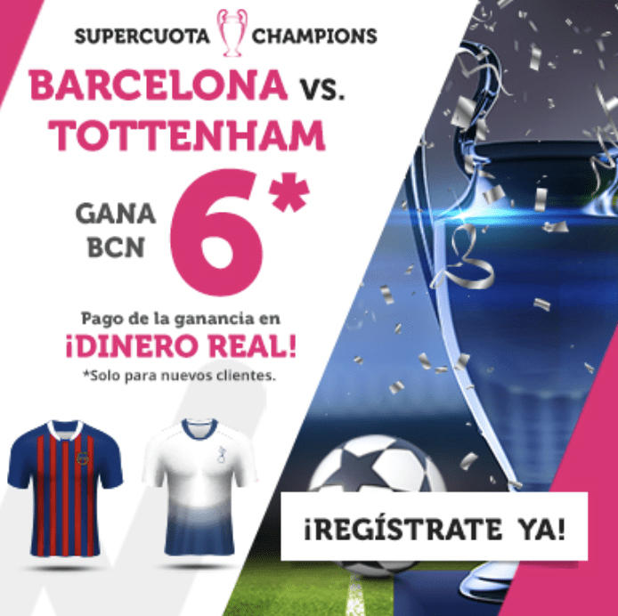 Supercuotas wanabet Champions League : FC Barcelona gana al Tottenham a cuota 6.