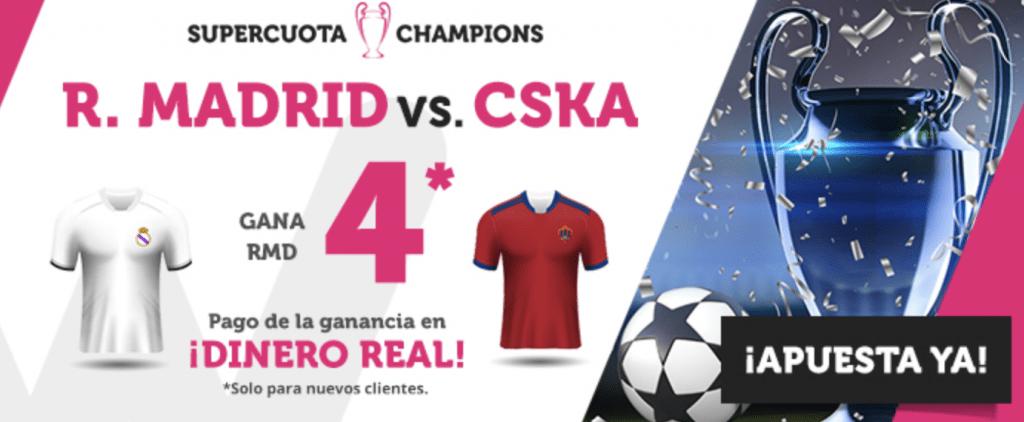 Supercuotas wanabet Champions League Real Madrid gana a CSKA a cuota 4.