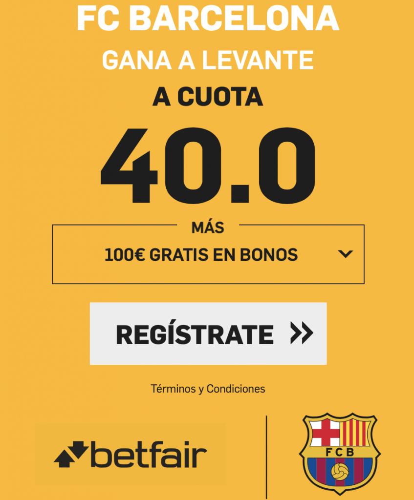 Supercuotas betfair Fc Barcelona gana al Levante a cuota 40
