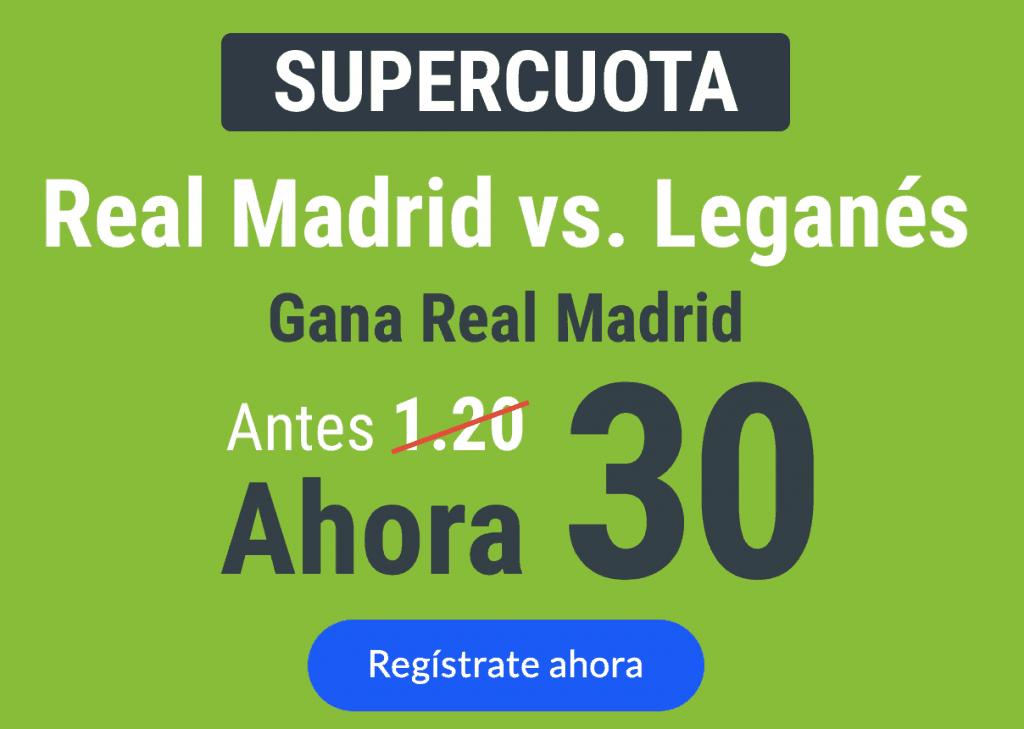 Supercuota Codere Copa : Real Madrid gana a Leganés a cuota 30.