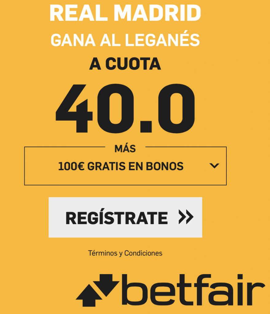 Supercuota betfair Copa Real Madrid gana a Leganés