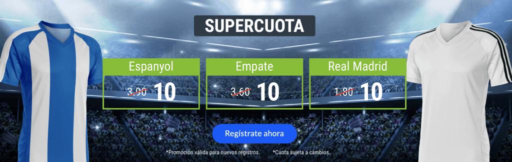 Supercuota Codere Espanyol - Real Madrid . Espanyol gana a cuota 10 , empate a cuota 10 , Real Madrid a cuota 10.