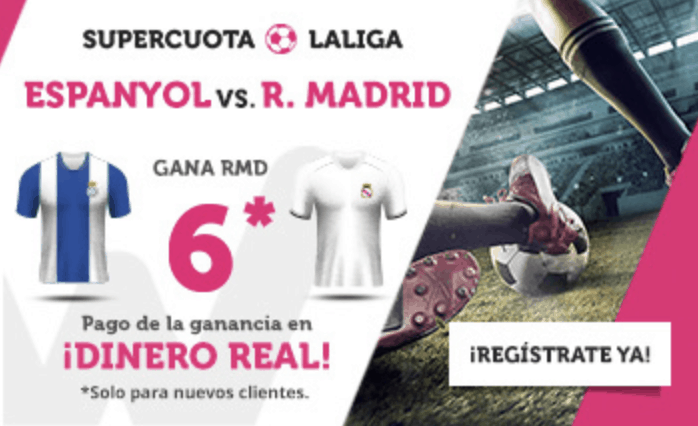Supercuota Wanabet Real Madrid gana al Espanyol a cuota 6.