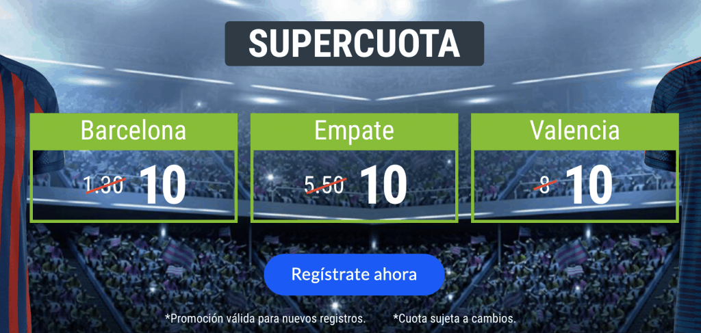 Supercuota Codere Barcelona - Valencia . Barcelona gana a cuota 10 , empate a cuota 10 , Valencia a cuota 10.