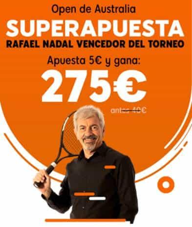 Superapuesta 888sport Rafa Nadal gana Open de Austral de tenis a cuota 55.