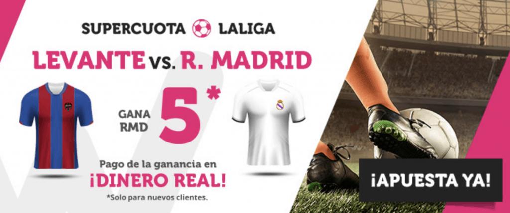 Supercuota wanabet La Liga : Real Madrid gana al Levante a cuota 5.