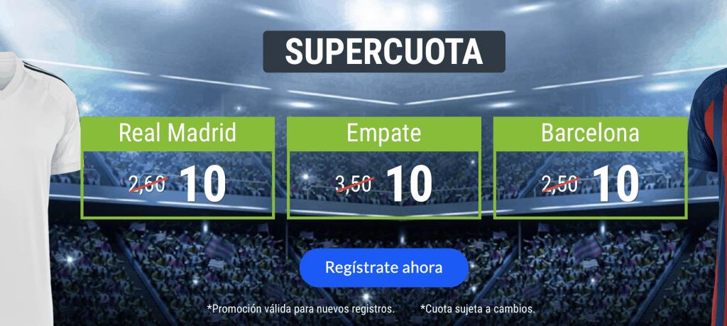 Supercuota Codere Liga : Real Madrid  - FC Barcelona . Elige ganador o empate a cuota 10.