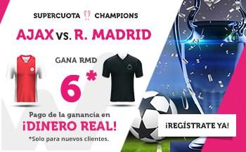 Supercuota Wanabet Champions League Real Madrid gana al Ajax a cuota 6.