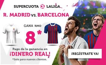 Supercuota Wanabet La Liga : Real Madrid gana al Barcelona a cuota 8.