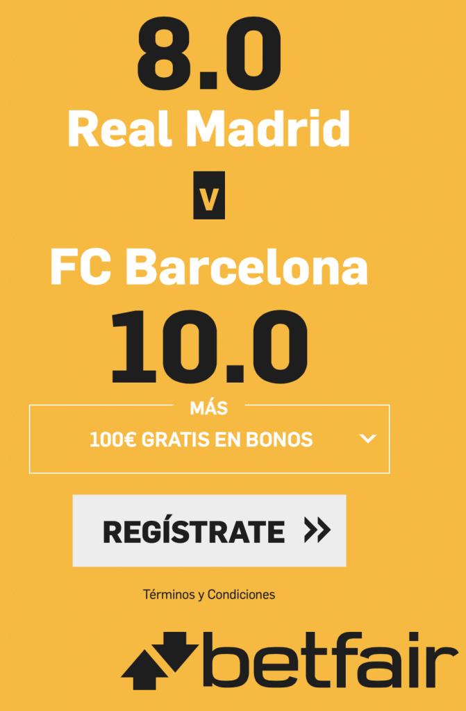 Supercuotas betfair El Clásico : Real Madrid - Fc Barcelona , Real Madrid gana a cuota 8. FC Barcelona gana a cuota 10.