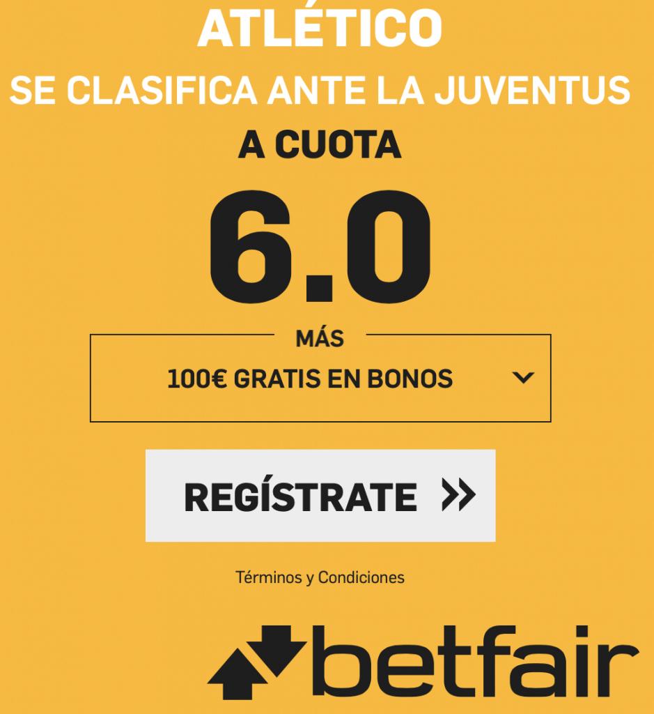 Supercuota betfair Champions League Atlético de clasifica ante la Juventus a cuota 6.