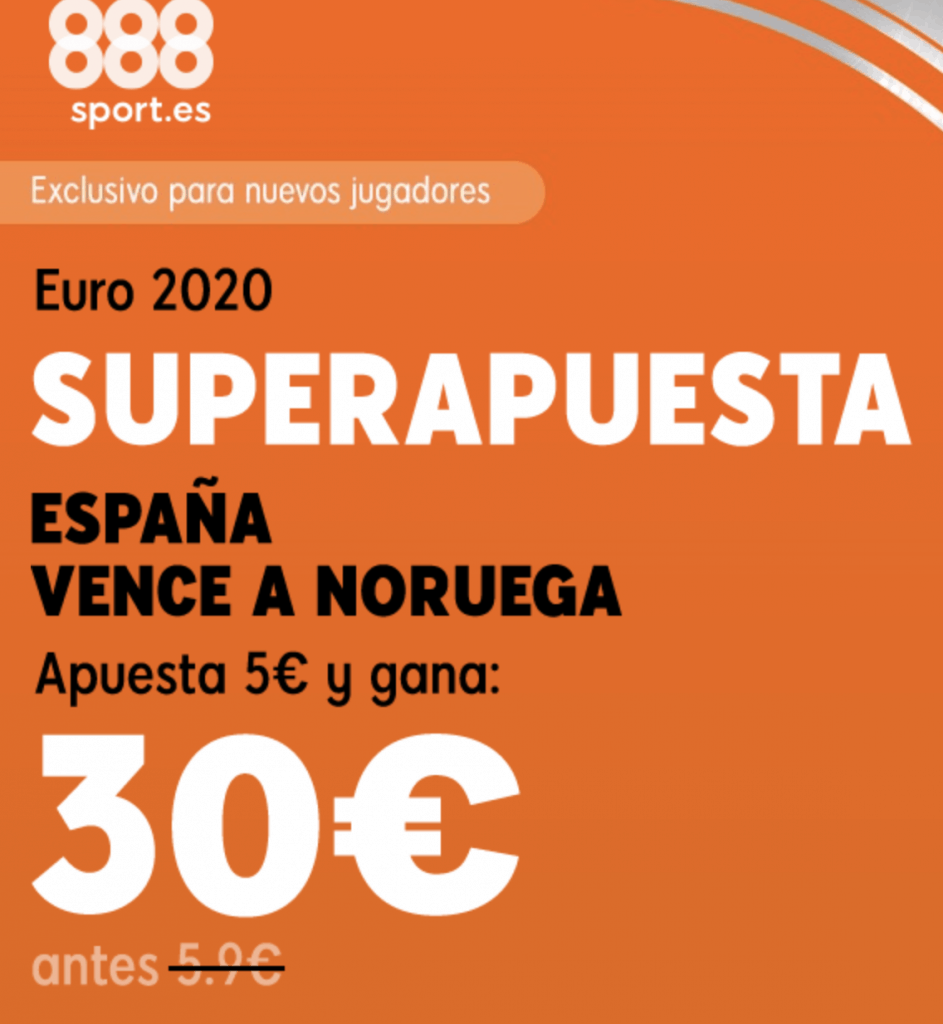Supercuota 888sport Euro 2020 España gana a Noruega a cuota 6.