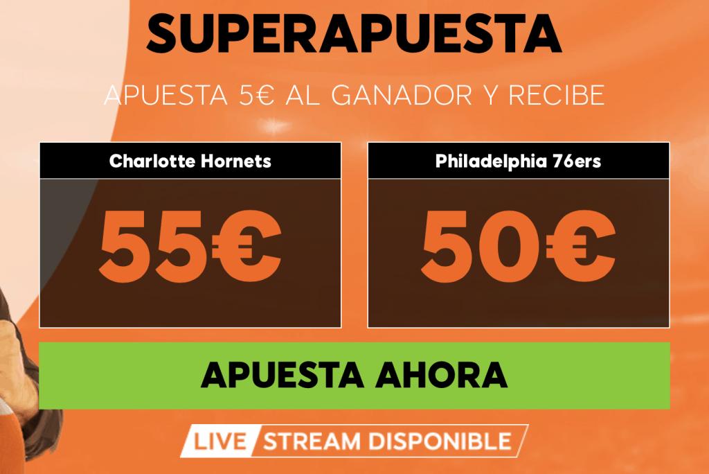 Supercuota 888sport NBA : Charlotte Hornets - Philadelphia 76ers