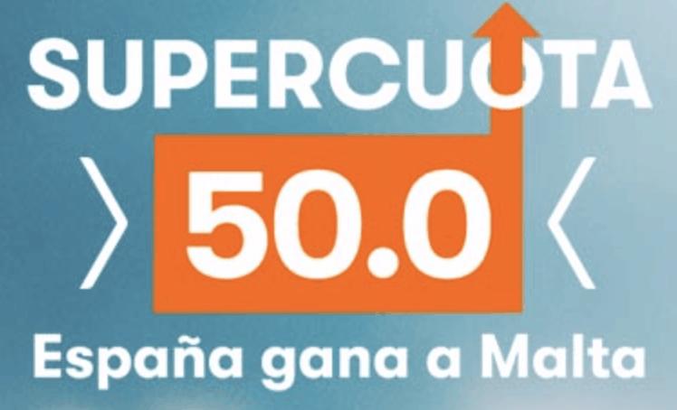Supercuota Betsson Euro 2020 España gana a Malta a cuota 50.