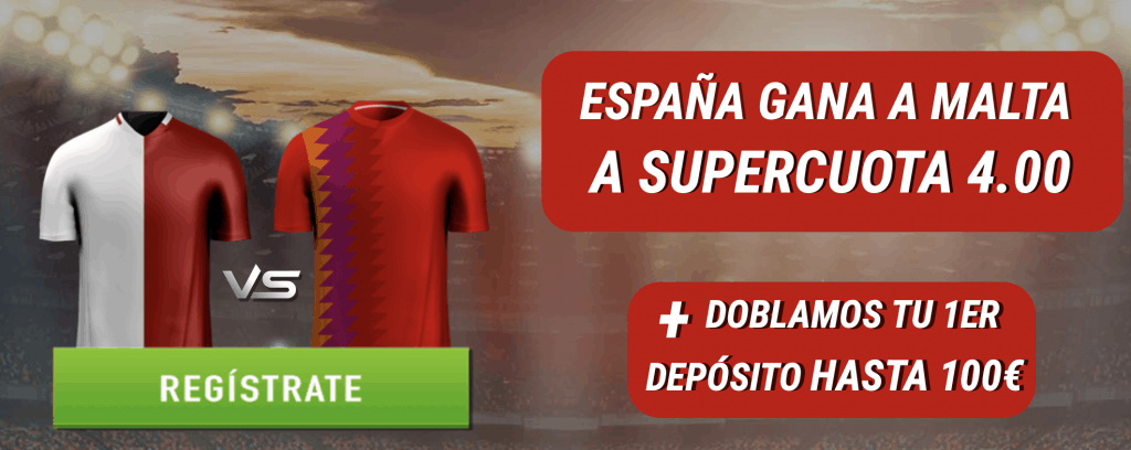 Supercuota Sportium España gana a Malta a cuota 4.
