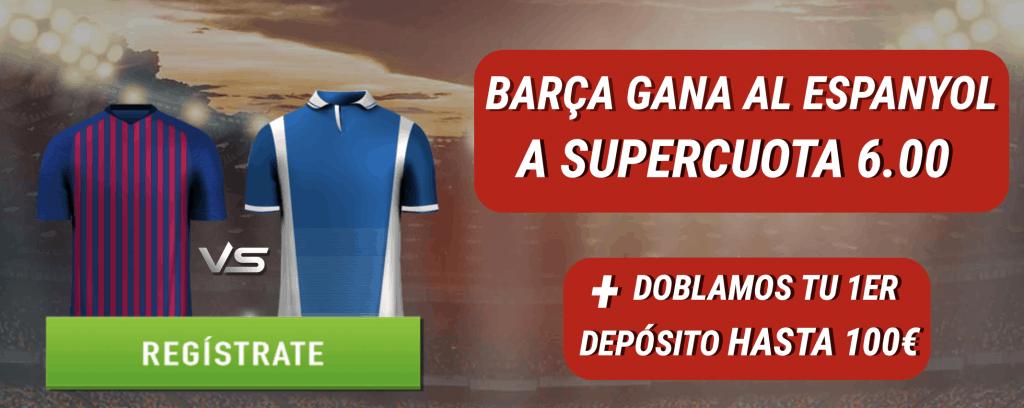 Supercuota Sportium Barcelona gana al Espanyol a cuota 6.