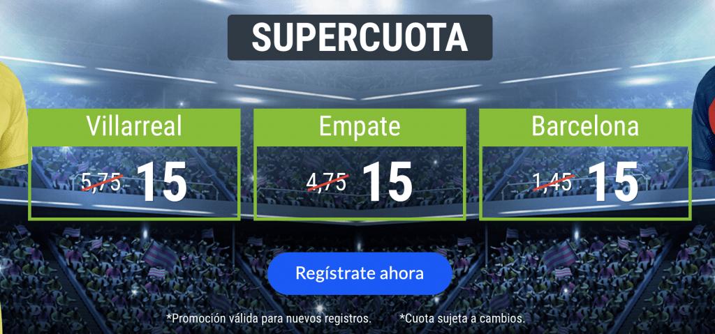 Supercuota Codere Villareal - Barcelona . Elige ganador o empate a cuota 15