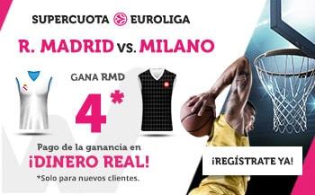 Supercuota wanabet Euroliga balonesto : Real Madrid gana al Olimpia Milán a cuota 4.