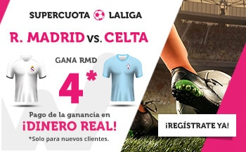 Supercuota Wanabet La Liga : Real Madrid gana al Celta a cuota 4.