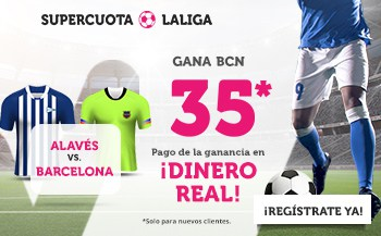 Supercuota Wanabet La Liga : Barcelona gana al Alavés a cuota 35.