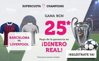 Supercuota Wanabet Champions League : FC Barcelona gana a Liverpool a cuota 25.