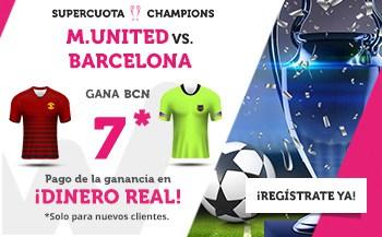 Supercuota wanabet Champions League : Barcelona gana a Manchester United a cuota 7.