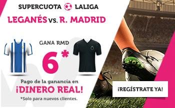 Supercuotas wanabet La Liga : Leganés - Real Madrid . Real Madrid gana a cuota 6.