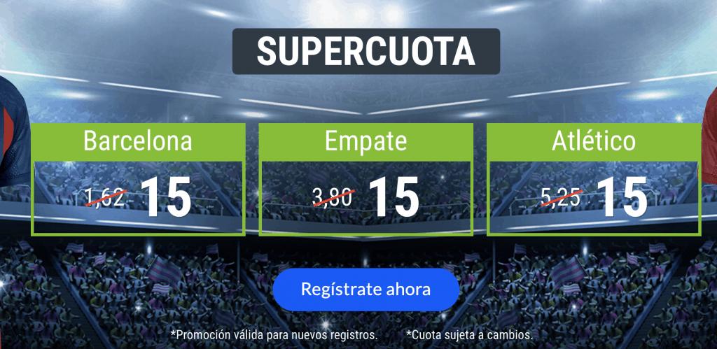 Supercuota Codere Barcelona - Atlético de Madrid . Elige ganador o empate a cuota 15
