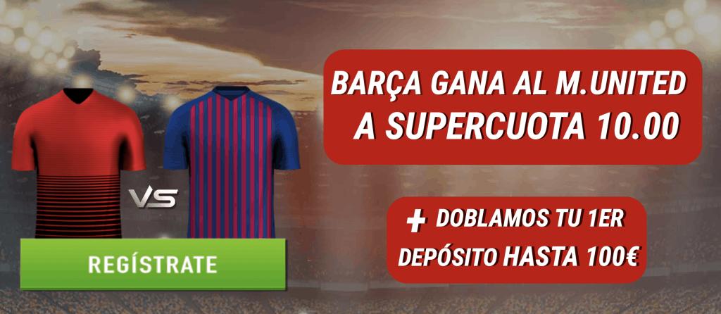 Supercuota Sportium Champions League : Barcelona gana al Manchester United a cuota 10.
