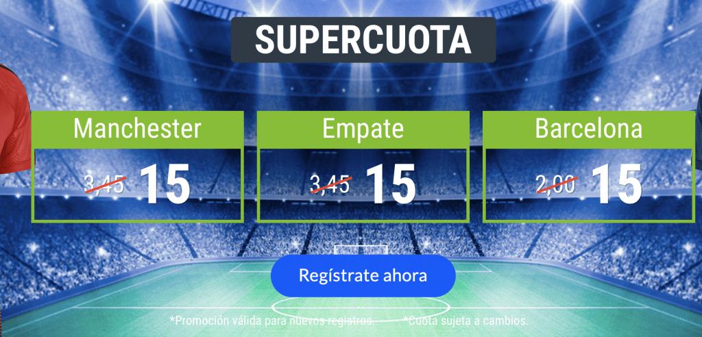 Supercuota Codere Manchester United - Barcelona . Elige ganador o empate a cuota 15