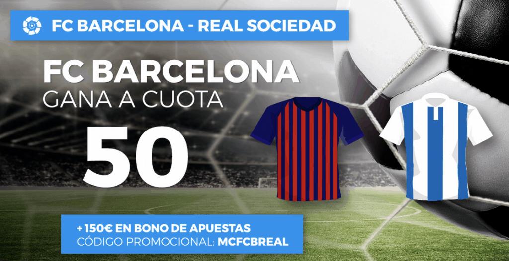 Supercuota paston La Liga : Barcelona gana a la Real Sociedad a cuota 50.