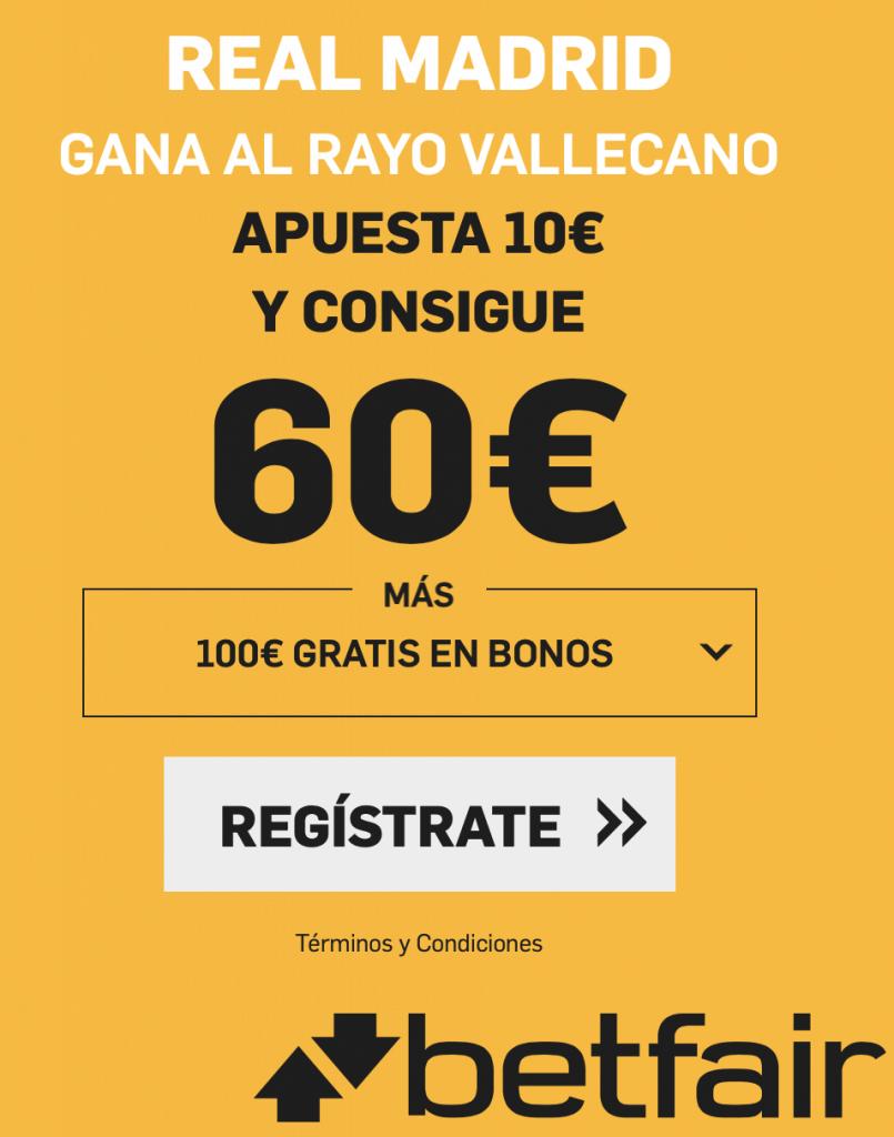 Supercuota betfair Real Madrid gana al Rayo Vallecano a cuota 6.