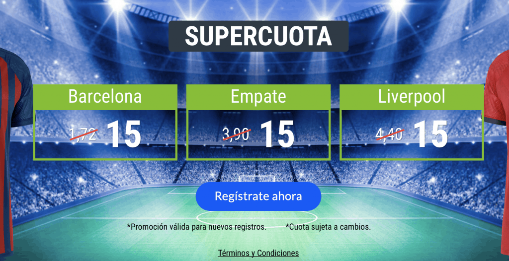 Supercuotas codere Champions League : Barcelona - Liverpool a cuota 15.