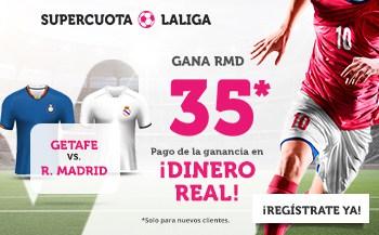 Supercuota Wanabet La Liga : Real Madrid gana al Getafe a cuota 35.